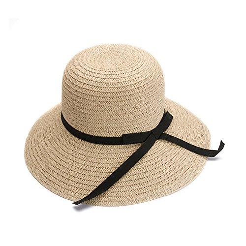 doublebulls hats Donne delle Ragazze Spiaggia di Modo Anti-UV Decorazione dell'Arco Tesa Larga Cappello di Paglia del Sole Beige