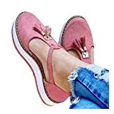 Cenglings Platform Sandals,Women's Tassel Round Toe Hollow Out T-Strap Wedge Sandals Buckle Ankle Strap Casual Beach Sneakers Pink