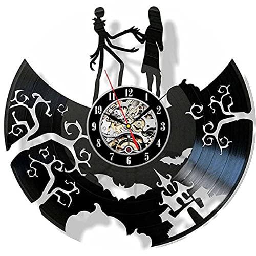 Vcnhln Reloj de Pared con Disco Negro - Reloj de Pared con Herramientas mecánicas Hecho a Mano para Hombres, Mujeres, Amigos, niños - Reloj de Pared de Vinilo de Halloween 30x30cm