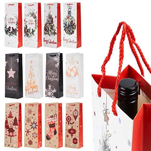 12 Premium Weihnachten Weintüten Geschenktüten| Festliche Designs, Stabile Papier & Starke Griffe| Flaschentüten Weinflaschen Verpackung für Weihnachtspartys & Geschenke.