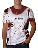 uideazone Men Women Halloween T-Shirt Bloodstain Spatter I'm Fine Printed Short Sleeve T-Shirt Couple Graphic Tees