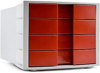 HAN 1010-X-17 Module de rangement Impuls, 4 tiroirs fermés, Gris clair/rouge, (Import Allemagne)