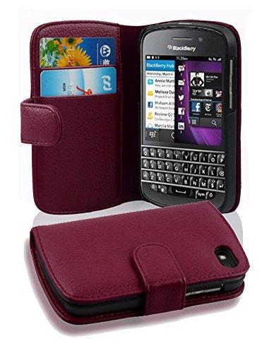 Cadorabo Hülle für BlackBerry Q10 in Bordeaux LILA – Handyhülle aus Strukturiertem Kunstleder mit Standfunktion & Kartenfach – Hülle Cover Schutzhülle Etui Tasche Book Klapp Style