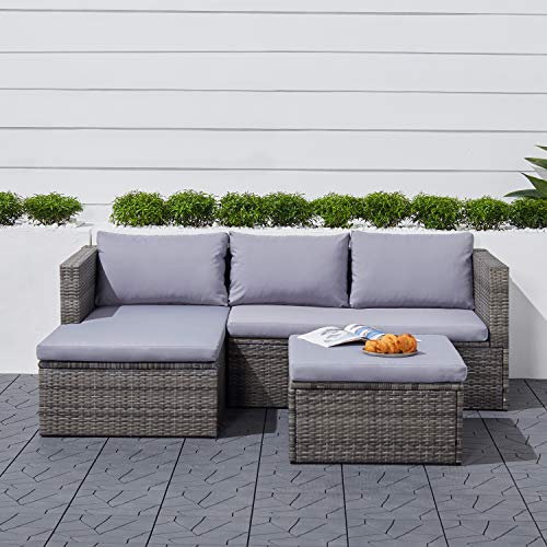 VIFAH V1912 Daytona 3-Piece Vintage Outdoor Cushioned Wicker Corner Sofa, Light Grey