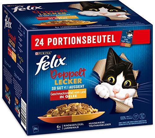 FELIX So gut wie es aussieht Doppelt Lecker Katzenfutter nass in Gelee, Sorten-Mix, 4er Pack (4 x 24 Beutel à 85g)