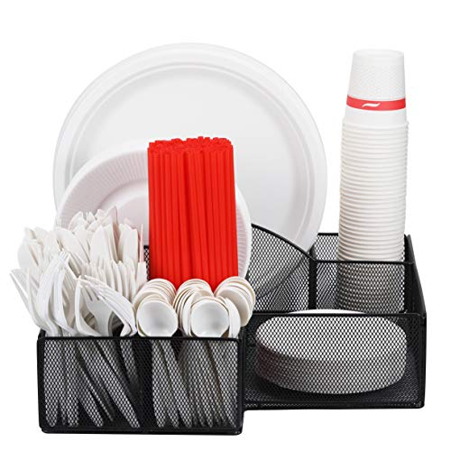 URFORESTIC Cutlery Utensil Holder - Organizer Caddy for Cups, Forks, Spoons, Plates, Napkins, Condiments and More - Mesh Holder is Excellent for Silverware Organization, Home and Kitchen Décor