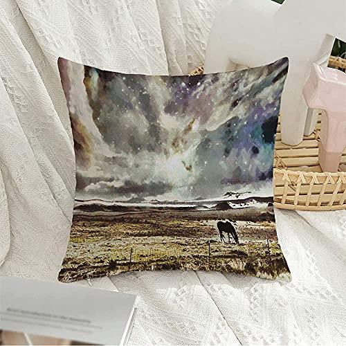 Funda de almohada decorativa cuadrada con diseño digital dramático del paisaje del oeste, caballo en pasta, mágico, colorido, con silueta de campo de rancho, estrellas de la naturaleza, funda
