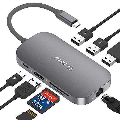 TOTU USB C Hub,9-In-1 Type C Hub with Ethernet Port, 4K USB C to HDMI, 2 USB 3.0...