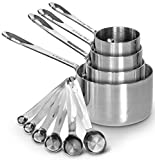 Heavy-Duty Unbreakable 18/8 Stainless Steel Measuring Cups and Spoons Set with Long Riveted Handles,...