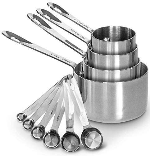 Heavy-Duty Unbreakable 18/8 Stainless Steel Measuring Cups and Spoons Set with Long Riveted Handles, Polished Stackable Measuring Cup and Measuring Spoon, Built to Last a...