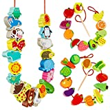 Wooden Animals Fruits Vegetables String Threading Beads Montessori Toddlers Preschool Activities Lacing Toys for Toddlers 3 4 5 6 Year Old Boys Girls