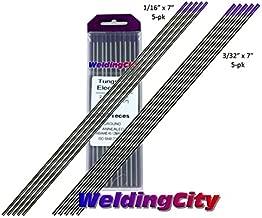 WeldingCity 10-pcs Premium TIG Welding Tungsten Electrode Tri-Element Non-Radioactive (Purple/AWS: EWG) Rod with Assorted Diameter 1/16