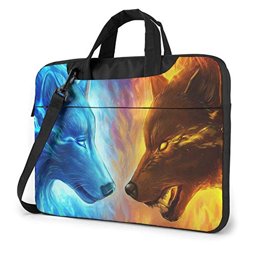 15.6 inch Laptop Shoulder Briefcase Messenger Ice and Fire Wolf Tablet Bussiness Carrying Handbag Case Sleeve