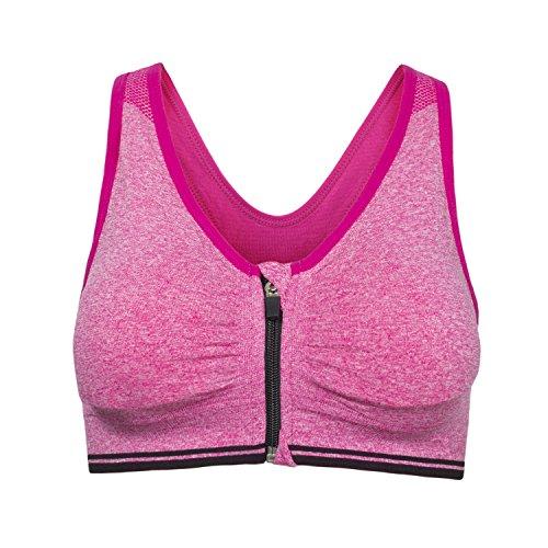 Cassiecy Sport BH Damen Yoga BH Starker Halt Vorne Reißverschluss Gepolstert ohne Bügel Comfort Atmungsaktiv Joggen Bra Fitness Push Up BH Top (2XL, Rosa)