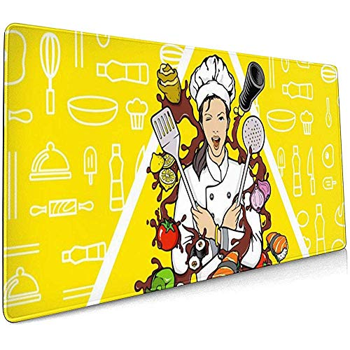 Sushi Koken Meisje Grote Gaming Muis Pad,Extended Mat Bureau Pad,Mousepad,Non-lip Dikke Rubber Base Mouse Mat