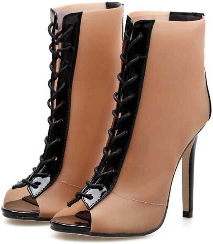Mamrar Peep Toe Cool Stiefelie Bondage schuhe Frauen Sexy 11,5 cm Stiletto Cross Riemen Knchel Stiefelies Kleider Schuhe EU-Gre 34-40