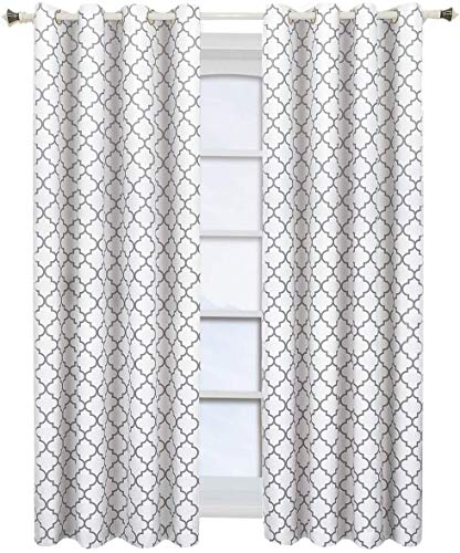 Meridian White Grommet Room Darkening Window Curtain Panels, Pair / Set of 2 Panels, 104in.W x 84in.L inches Each, by Royal Hotel