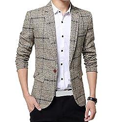 Abetteric Men Fleece Premium Select Dress Business Classic Blazer Outwear