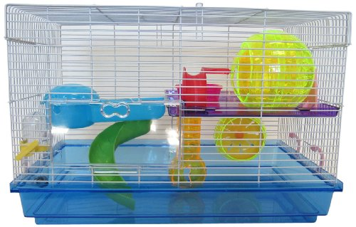 YML Clear Plastic Dwarf Hamster Mice Cage with Color Accessories, Blue