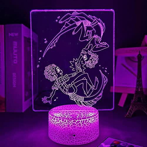 QSJi Anime Luca Alberto Sea Monster Figure LED Luces de noche Led Panel Luces Manga 3D Lámpara Lindo Decoración de la habitación Halloween Navidad