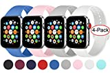 AK 4er-Set Kompatible Fr Apple Watch Armband 38mm 42mm 40mm 44mm, Weiche Silikon Ersatz Armband fr...