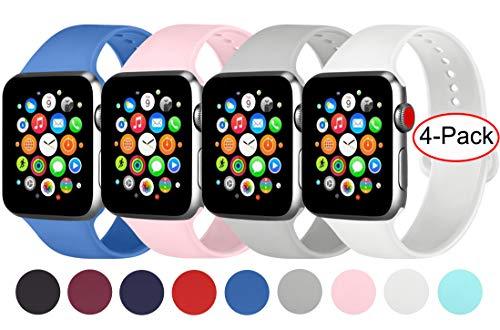 AK 4er-Set Kompatible Für Apple Watch Armband 38mm 42mm 40mm 44mm, Weiche Silikon Ersatz Armband für Apple Watch Series 5/4/2/3/1 (Weiß/Rosa/Grau/Königsblau, 38mm/40mm-M/L)