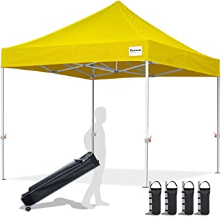 EliteShade 10`x10` Commercial Ez Pop Up Canopy Tent Instant Canopy Party Tent Sun Shelter with Heavy Duty Roller Bag,Bonus 4 Weight Bags,Yellow
