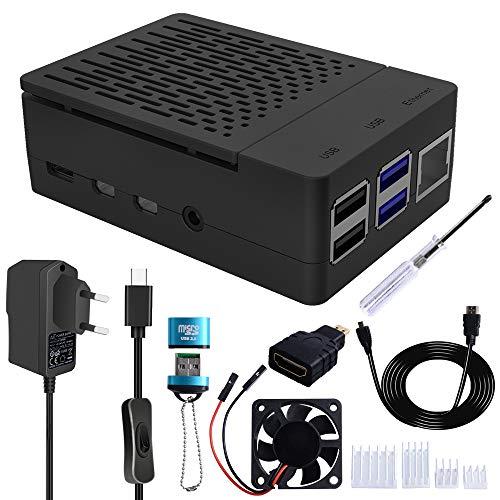 GeeekPi Raspberry Pi 4 Cajas con ventilador,5V 3A USB-C Adaptador de corriente, Raspberry Pi Disipador, Micro HDMI Cable, Micro HDMI a HDMI Adaptador, USB Lector para Raspberry Pi 4 Modelo B
