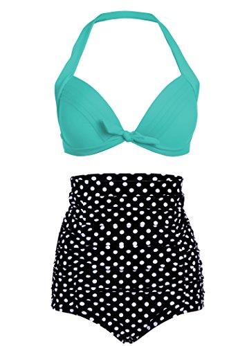 Pretty Attitude Polka Dot Pünktchen Retro Pinup Vintage Damen Bikini mit hoher Taille und türkisem Oberteil (2-TLG. Set) – Gr. S