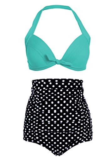 Pretty Attitude Polka Dot Pünktchen Retro Pinup Vintage Damen Bikini mit hoher Taille und türkisem Oberteil (2-TLG. Set) – Gr. XXL