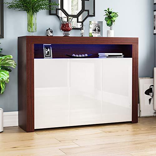 Vida Designs Nova-Aparador LED Moderno de 3 Puertas en Color Nogal y Blanco, RGB (Opciones de luz estroboscópica Incluidas), Estilo Mate de Madera con características de Alto Brillo, 3 Door