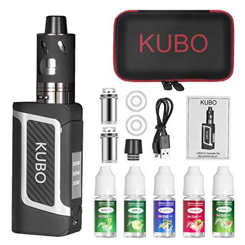 Cigarette Electronique Kit Complet E Cigarette et 5x10ml E liquide 80W Mod Kit avec Atomiseur 0,5 Ohm/ 3ml Batterie 2000mAh Vape, écran LED Watt réglable 0,0mg nicotine E Chicha LZ80W - Noir