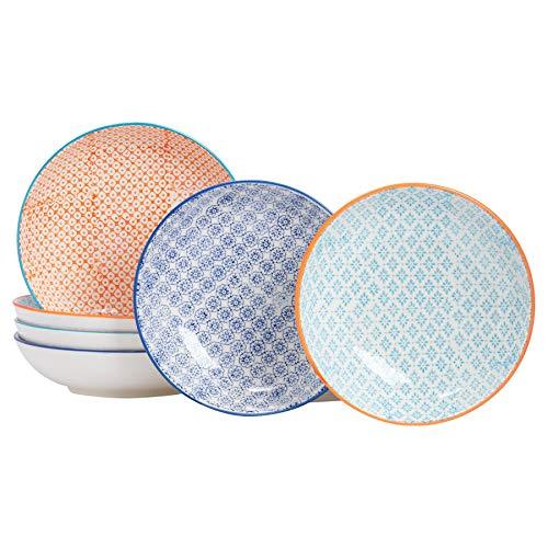 Nicola Spring Gemusterte Porzellan Pasta Schalen - 6er Set