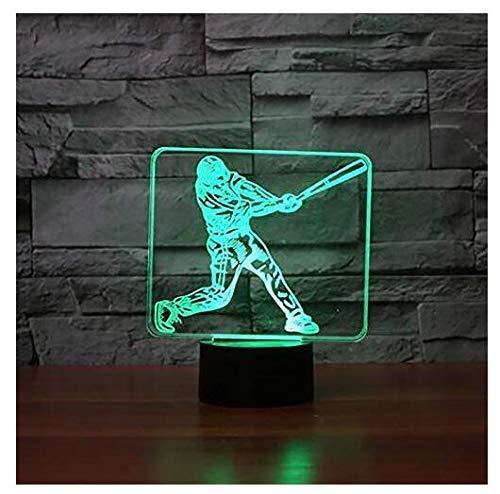 Superiorvznd 3D-Baseball-Spieler-Nachtlicht, Touch-Tisch, optische Illusion-Lampen, 7 Farbwechsel-Lichter, Heimdekoration, Weihnachten, Geburtstag, Weihnachtsgeschenk