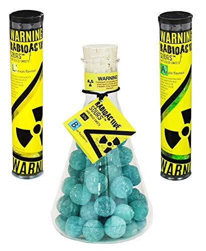 Radioactive Sours - Mega-Extrem saure Süßigkeit - Super Sour Bonbons - 3er Pack - Geschmacksrichtungen Zitrone, Apfel, Himbeere (375g und 2 x 52g)
