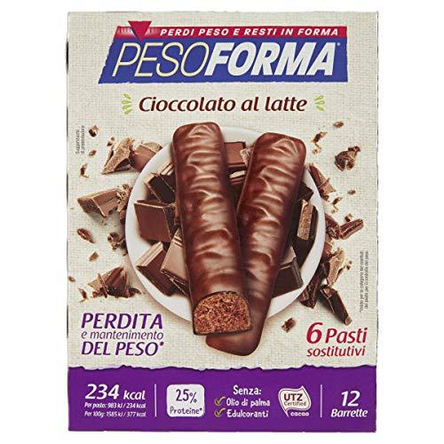 Pesoforma 184639 Barrette Cioccolato al Latte - Pasti sostitutivi dimagranti - SOLO 234 Kcal - Ricco in proteine - 6 pasti