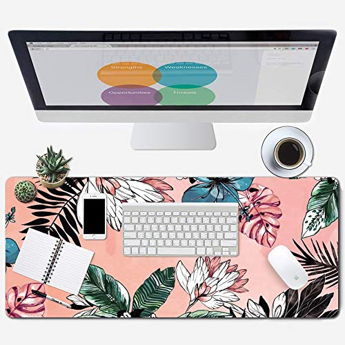 ZYCCW Large Gaming Mouse Pad, Oversized Extended Mat Desk Pad Keyboard Pad (31.5'x11.8'x0.15') Thick Non-Slip Rubber Stitched Edges(Palm Leaves Floral)…