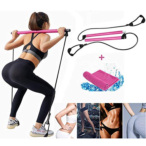 Viajero Pilates Bar Kit for Portable Home Gym Workout 3-Section Sticks All-in-one Strength Weights Equipment for Body Fitness Squat Yoga with E-Book /& Video 2 Latex Exercise Resistance Band