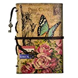 FX Vintage cuero de la secuencia Retro Cuaderno Diario Notebook PU Cubierta Hojas Sueltas Libreta y De Viaje Cuaderno (Blue-butterfly)