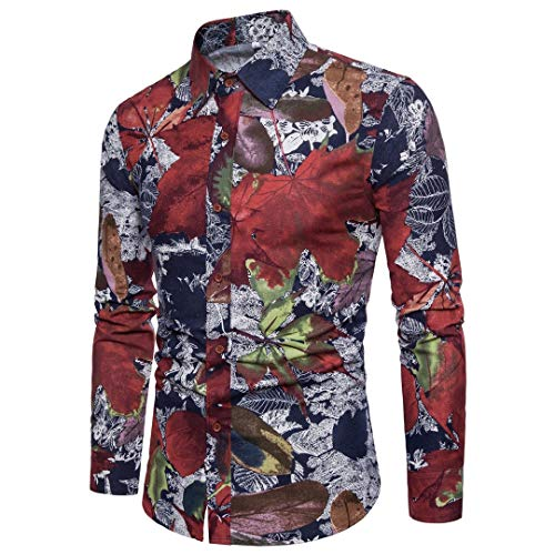 Herren Funky Floral Checked Shirt Lässiges Langarmhemd Button Langarmhemden Printed T-Shirt Kariertes Freizeithemd,A,M