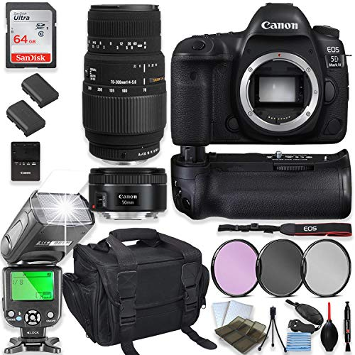 Canon EOS 5D Mark IV DSLR Camera with Sigma70-300mm Lensand CanonEF 50mm Lens + 64GB Sandisk Memory + Camera Case + 2 Batteries + Power Battery Grip with Professional Accessory Bundle (15 Items)