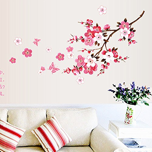 Subfamily Chambre Peach Blossom Fleur Autocollant Décoration Murale pour Chambre Salon Wall Stickers Vinyl Art DéCalques DéCor Mural Stickers Miroir Muraux Stickers Muraux Phrase (Rose)