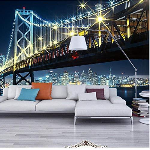 Hyllbb Fototapete Benutzerdefinierte 3D Hd Fotografie Fototapete Moderne Stadt Nacht Ansichten Brücke Fluss Fototapete Vliestapete Für Bettwäsche Zimmer-140Cmx100Cm