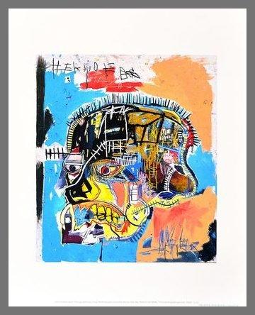 Germanposters Jean-Michel Basquiat Poster Kunstdruck Bild Untitled Skull 1981 im Alu Rahmen Champagne 42x34cm