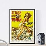 """Nacnic Vintage Poster Vintage Filmplakat """"Angriff der Riesen-Frau"""". A3 Größe"""