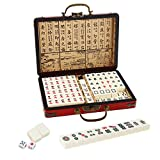 """IRONWALLS Chinese Majong Set, 144PCS Mahjong Tile Set with 0.7"""" Majongg Tiles, 2PCS Dice & Leather Carrying Case Box, Complete Majong Game Sets for Travel Party Family Game"""