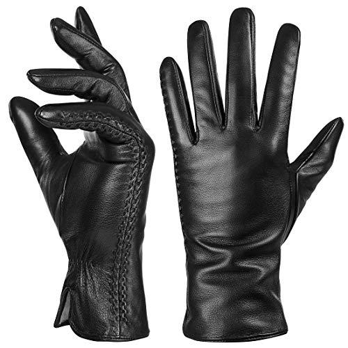 Echtes Schaffell Leder Handschuhe für Damen, Winter Warm Kaschmir Futter Touchscreen Texting Fahren Motorrad Kleid Handschuhe,Schwarz,M
