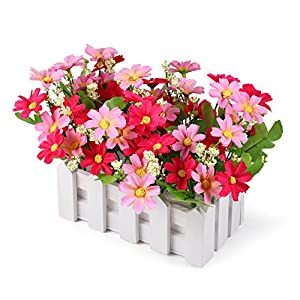 Silk Flower Arrangements Louis Garden Artificial Flowers Fake Daisy in Picket Fence Pot Pack - Mini Potted Plant (Daisy-Pink)