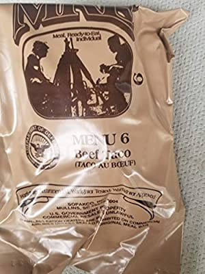 LoJo Surplus 2021 Genuine Military MRE Meals Ready to Eat with Inspection Date 2021 or Newer (Beef Taco)