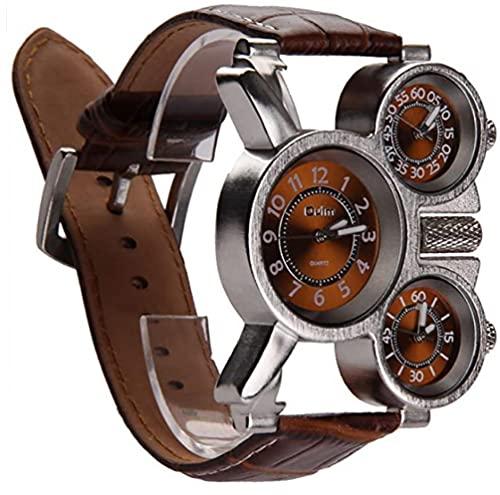 Reloj de Tres diales analógicos de los Hombres multifuncionales Manos Luminosas y diseño de la Correa de Cuero cómodos (marrón) 1 Paquete